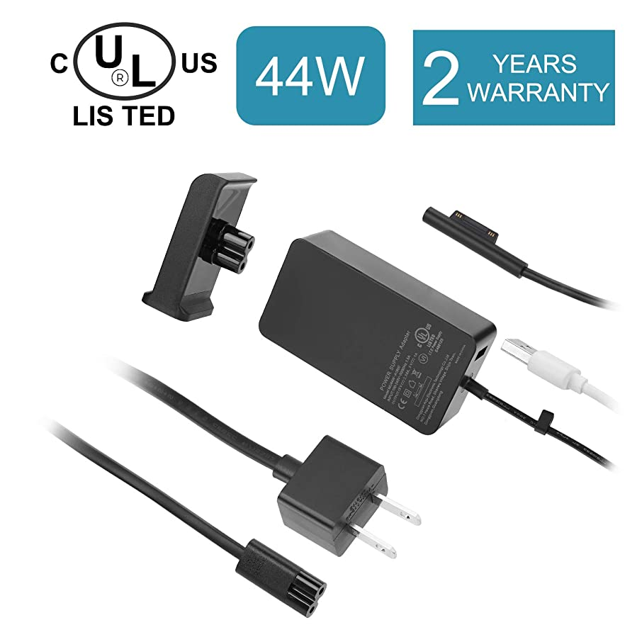 Surface Pro Charger Surface Laptop Charger, UL Listed 44W 15V 2.58A Power Supply for Microsoft Surface Pro 6/5/4/3, Surface Laptop 2 & Surface Go & Surface Book with USB Charging Port