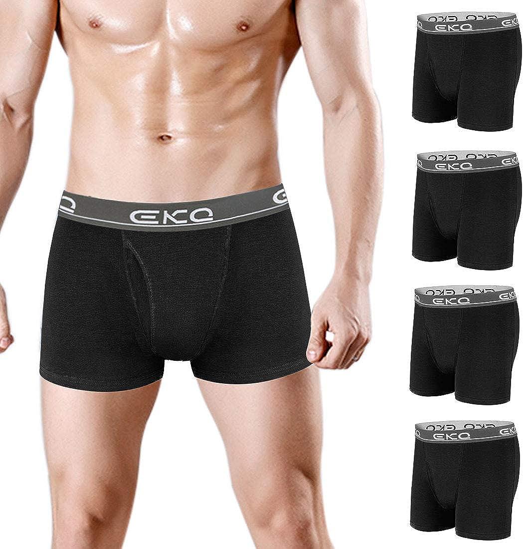 Mens Boxer Briefs Underwear 4 pack Soft Cotton Trunks Comfortable Stretch Men's Tagless Underwear with Fly