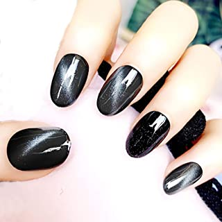 Barode False Nails Cat Eye Short Oval Black Fake Nails Wedding Birthday Party Clip on Nails for Women and Girls