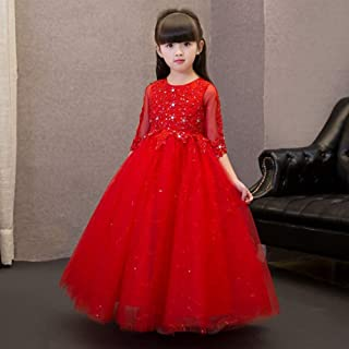 Luxury Pompon Princess Dress Girls Bouquet Beaded Long Section of Red Yarn Chinese Flower Girl Dresses Little Girls Host Costumes Western Style Piano Performances ryq (Color : Red, Size : 160cm)