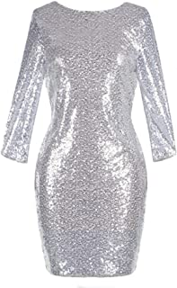 Womens 3/4 Sleeve V Neck Sequin Sparkle Glitzy Glam Flapper Party Dress Cocktail Glitter Bodycon Wedding Evening Clubwear