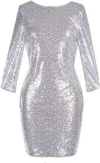 Womens 3/4 Sleeve V Neck Sequin Sparkle Glitzy Glam Flapper Party Dress Cocktail Glitter Bodycon Wedding Evening Clubwear