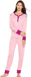 Hanes Long Sleeve Waffle Henley & Jogger Pants Sleep Set (HAC80133) -Pearl Pink -L