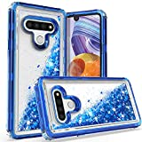 KULECase Compatible with LG Stylo 6 Case, Glitter 3 in 1 Heavy Duty Phone Cover with Moving Liquid Quicksand, Bling Sparkle Shell for Women Girls (Blue)