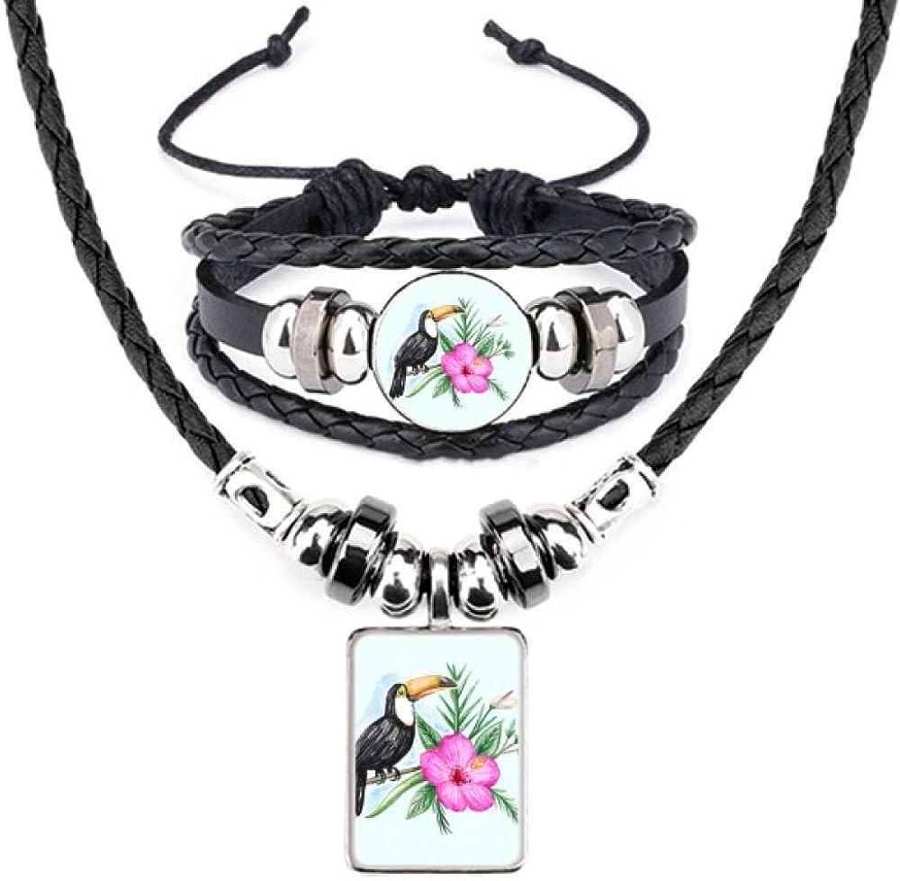 Ramphastos Toco Tropical Bird Leather Necklace Bracelet Jewelry Set
