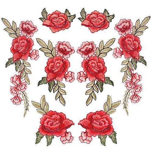 8 Piezas de Parches de Bordado Parches de Flor de Coser Parches de Rosa para Vaqueros, Ropa, Sombrero, Zapatos