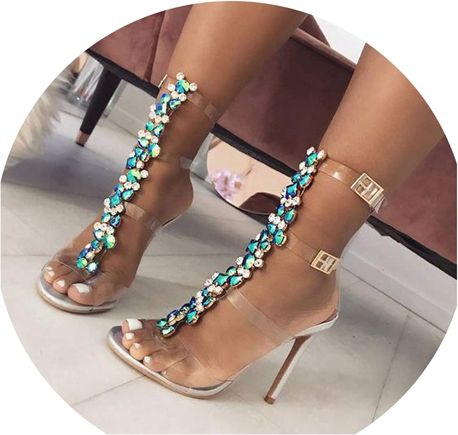 Women High Heels shoes Open Toe Buckle Strap Crystal Clear PVC Casual High Heels Sandals Summer Sandals