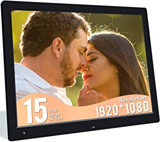 Jimwey 1080P Digital Photo Frame, 15 Inch Digital Picture Frame with Motion Sensor, 16:9 IPS Display Electronic Photo Frame, Wall Mountable, 1080P Video/Music Player, Calendar, Alarm, Remote Control