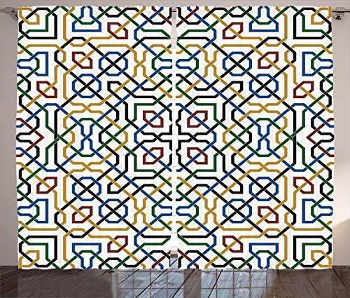 ABAKUHAUS Ethnisch Rustikaler Vorhang, Arabisches Marrakesch-Motiv, Wohnzimmer Universalband Gardinen mit Schlaufen und Haken, 280 x 175 cm, Mehrfarbig