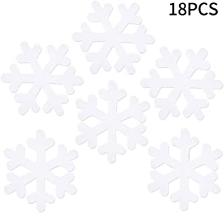 Boao Christmas Snowflake Ornaments Hanging Glitter Snowflake for Christmas Tree Wedding Party Decoration Craft Favors (18 Pieces, White)