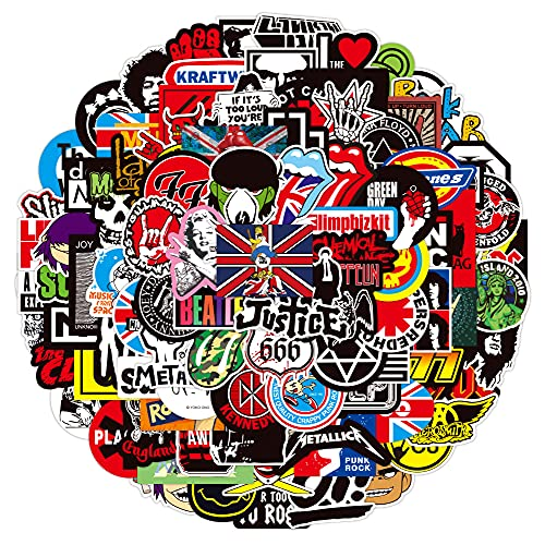 DSSK 100Pcs Rock Music Band Graffiti Stickers DIY Waterproof Removable Notebook Scooter Stickers