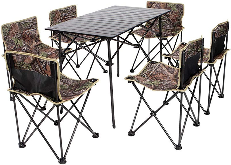 FH Outdoor Folding Table, Portable Mini Telescopic Household Picnic Barbecue Rectangular SevenPiece