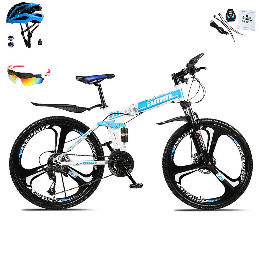 Bicicletas De Montaña para Hombre Y Mujer 30 Velocidades Bicicleta Montaña 26 Pulgadas Marco De Acero De Alto Carbono MTB con Suspensión Y Doble Freno De Disco Bicicleta Plegable,Azul: Amazon.es: Deportes y