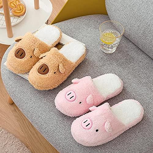 VTASQ Zapatillas de Casa para Mujer Hombre Memory Foam Zapatillas Peludo de Felpa Antideslizante Pantuflas de Interior y Exterior Cálido y Confortable Zapatillas Rosa 36/37