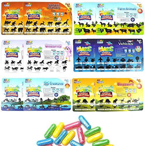 GosuToys Magic Grow Capsules Creatures - 6 Theme Packs with 12 Capsules Each - Farm, Sea, Unicorns, Dinosaurs, Safari, Vehicles (12 Pack (2 of Each Theme))