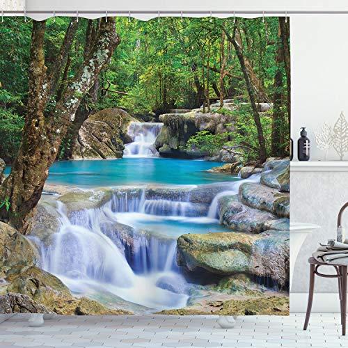 ABAKUHAUS Natur Duschvorhang, Felsen im Wasserfall See, mit 12 Ringe Set Wasserdicht Stielvoll Modern Farbfest & Schimmel Resistent, 175x220 cm, Braun Grün & Blau
