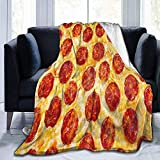 JXZO cobija Fleece Blanket Pepperoni Pizza Italy Food Ultra-Soft Microfiber Bed Blanket (50X40 In)