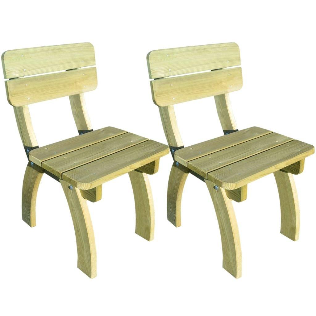 WEILANDEAL Sillas de Jardin de Madera de Pino impregnada 2 Unidades Fundas para sillas de jardinEspesor de Las Tablas: 28 mm: Amazon.es: Jardín