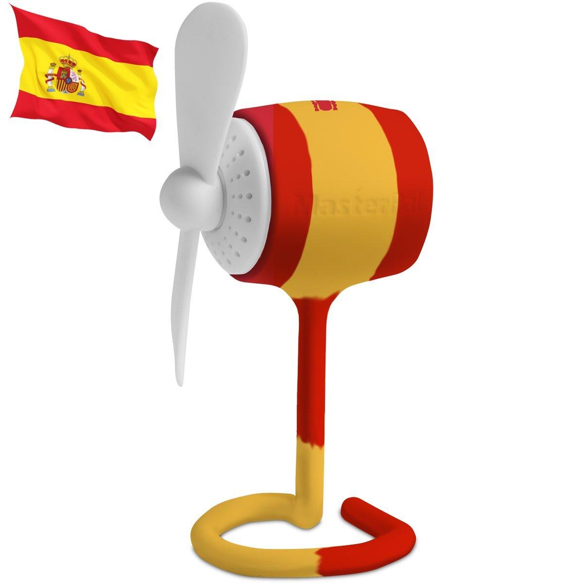 Ventilador Telego Masterpal mini silencioso (bandera española): Un ventilador a pilas de 10.000RPM poderoso, recargable, impermeable, portátil con característica dispensadora de aroma: Amazon.es: Electrónica