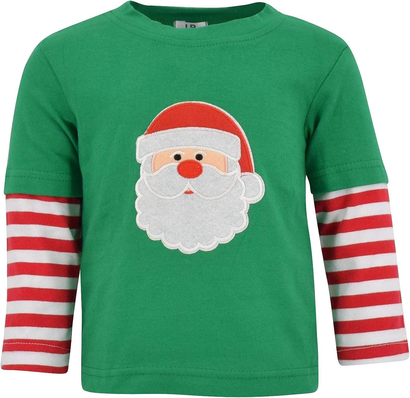 Unique Baby Unisex Layered Christmas Santa Shirt