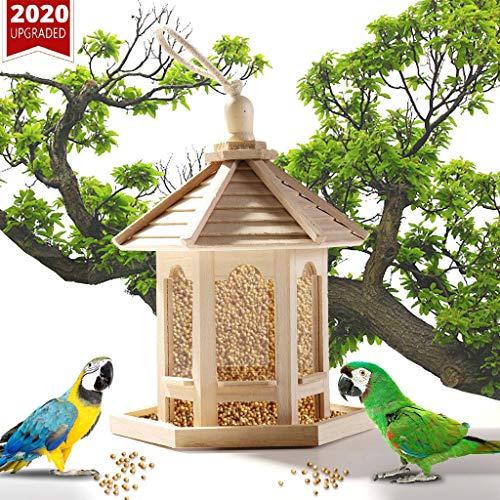 Mangeoire à oiseaux en bois - Plateau de semences suspendu extérieur avec Rooffor Garden Yard et Terrasse, Villa de décoration en forme d'hexagone pour Finch Cardinal, Respectueux de la nature