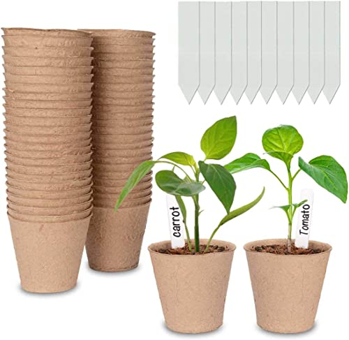 Cymax Lot de 50 Pots de semis en Fibre biodégradable de 8 cm avec 50 étiquettes de Plantes, Godets Semis Plantes Biod...