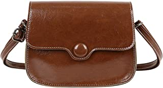 Women Messenger Bag Small Flap Bags Oil Wax Leather Shoulder Bag