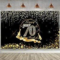 GooEoo 9x6ft 70誕生日パーティー装飾ポスター70誕生日パーティー用品、70誕生日バナー写真家族パーティー誕生日背景ベビーシャワー装飾ビニール素材