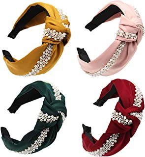 Bow Pearl Headband for Women Girls Fashion Hair Accessaries Wide Polyester Cloth Cross Knot Pearl Hair Hoop for Wedding Party