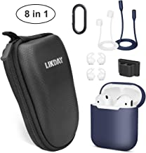 8 in 1 Airpods Accessories Set, Likday Silicone Case Cover Set for Airpods with (Holder, Earhooks, Earphone Case, Strap,EVA Hard Shell Box, Carabiner) (Black Box & Midnight Bule Case)