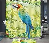 Ommda Duschvorhang Textil Wasserdicht Duschvorhang Anti-schimmel Tier Digitaldruck Waschbar mit 12 Duschvorhang Ring 80x180cm(Keine Matten) Papagei