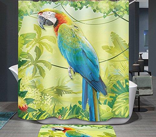 Ommda Duschvorhang Textil Wasserdicht Duschvorhang Anti-schimmel Tier Digitaldruck Waschbar mit 12 Duschvorhang Ring 100x200cm(Keine Matten) Papagei