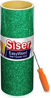 Siser Glitter Green Easyweed Heat Transfer Craft Vinyl Roll Including Stainless Steel Weeding Tool (5ft x 10