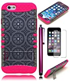 Bastex Heavy Duty Durable Hybrid Protective Kickstand Case - Soft Pink Silicone Cover with Silver Antique Circles Design Hard Shell for Apple iPhone 6, 4.7' **INCLUDES SCREEN PROTECTOR + STYLUS**