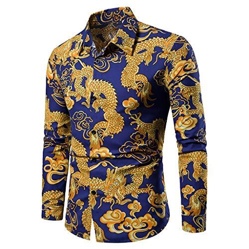DeHolifer Herren Hemd Slim Fit Langarm Drachenmuster Klassisch Freizeit Hemd Für Kent-Kragen Business Hochzeit Casual Sommer Atmungsaktiv Baumwolle Retro Anzug Hemd M-3XL