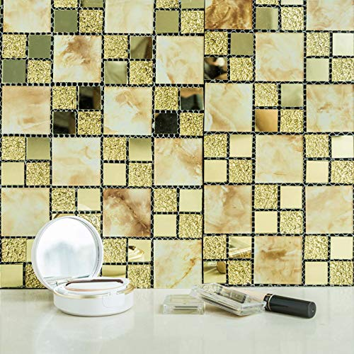 Efavormart 10 Pack Gold Marble Self-Adhesive Backsplash Peel & Stick Colored Glass Mirror Mosiac Wall Panels Wall Tile - 10Sq.ft