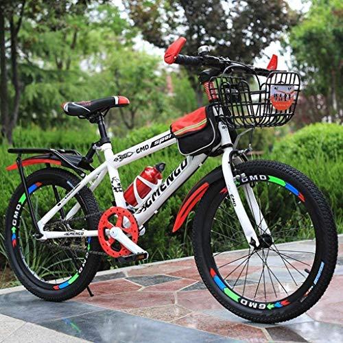 HongLianRiven BMX Kinderfahrrad, Gebirgsfahrrad, Studenten Bike, Hard Tail Bike, 20/22 Zoll, Single Speed-Scheibenbremsen Fahrrad, Anti-Rutsch-Bikes 7-20 (Color : Red, Size : 22 inch)