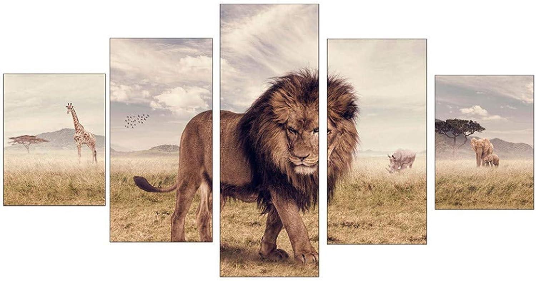 punto de venta Giow Moderna Decoración del Hogar Imagen Imagen Imagen Modular Impresión de la Lona Pintura 5 Panel Animal León Enmarcado Arte Abstracto de la Parojo para la Sala de EEstrella  últimos estilos