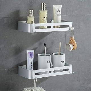 Yeegout Étagère de salle de bain sans perçage avec crochets amovibles en aluminium adhésif (carré)