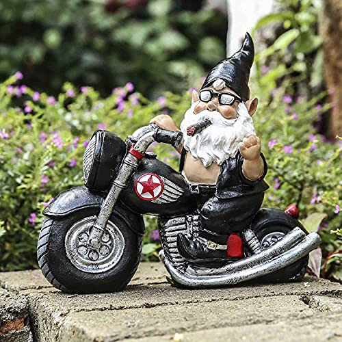 Garden Gnome Statue, Funny Harley Biker Gnome Figurine, Resin Smoking Motorcycle Gnome Outdoor Decorations, for Patio Yard Lawn Porch, Ornament Gift