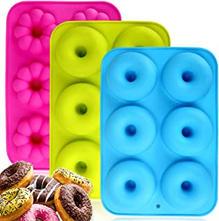 Silicone Donuts Baking Pan Set of 3, Non-Stick Round and Flower Donut Molds, Durable Kitchen Accessories for Cake Biscuit ...