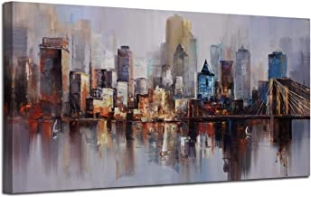 Canvas Wall Art Prints Modern Abstract Cityscape Brooklyn Bridge Painting Framed Extra Large, Colorful New York Skyline Buildings Picture for Living Room Home Office Decor 60
