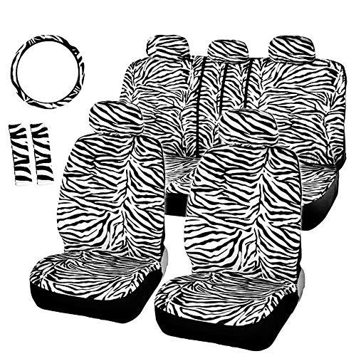 Coprisedili per auto universali Vestibilità universale La maggior parte dei seggiolini auto Coprivolante Coprispalle Breve peluche Zebra bianca