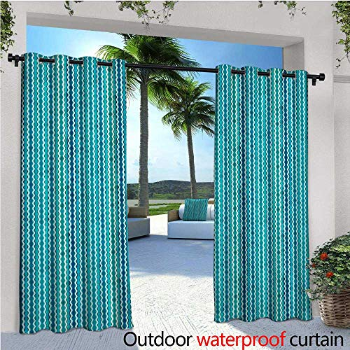 Abstract Outdoor Privacy Curtain for Pergola Wavy Stripe Pattern with Grunge Design Swirls Pattern Antique Composition Thermal Insulated Water Repellent Drape for Balcony W108' x L84' Aqua Blue Turqu