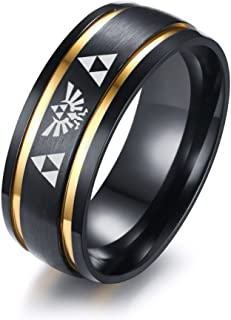 VNOX 8MM Legend of Zelda Two-Tone Stainless Steel Brushed Double Grooved Wedding Ring for Men,Size 9-13