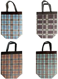 Lot of 12 Large Stripe Box Prints Reusable Shopping Bags Tote Grocery