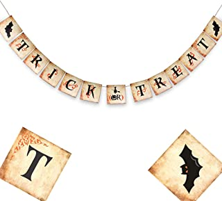 Halloween Party Decorations - Trick or Treat Banner - Halloween Bunting Banner - Primitive Halloween Banner - Happy Halloween Signs - Halloween Pumpkin Party - 6 X 6 Inches