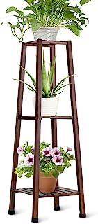 OGORI 3-Tier Indoor Plant Stands Mid Century Bamboo Plant Stand Display Shelf,Dark Brown