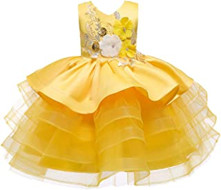 Luxury Princess Flower Girl Dress Wedding Dress Embroidered Gauze Skirt Children Girl Sleeveless Dress Applique Dress Festival Performances ryq (Color : Yellow, Size : 110cm)