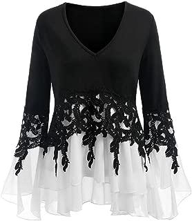 CUCUHAM Fashion Womens Applique Flowy Chiffon V-Neck Long Sleeve Strapless Blouse Tops